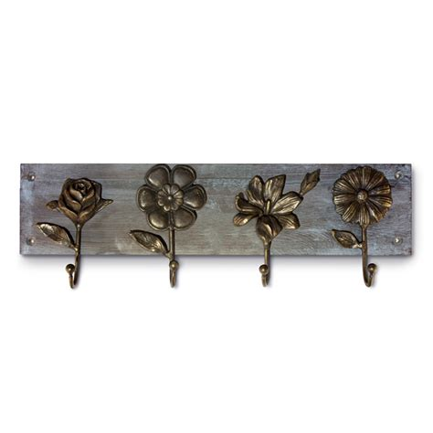 wrought iron and wood wall decor spi wood flowers wall hook 50997