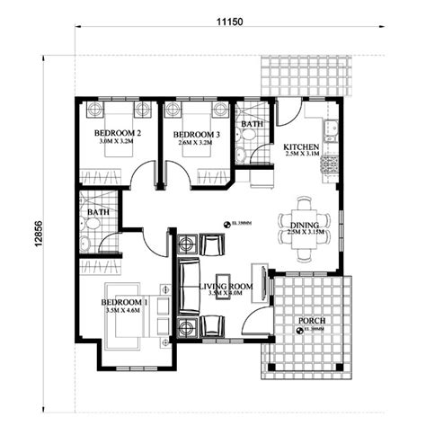2 Bedroom Tiny House Plans by Small House Plan Lot Size 150 Square Meters Myhomemyzone Com