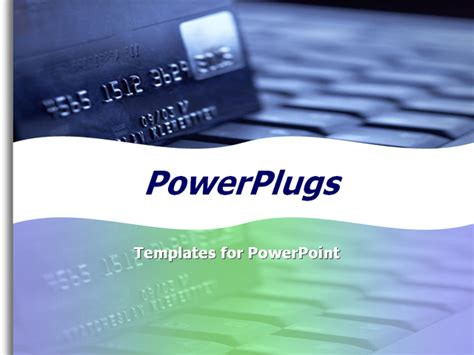 Credit Card Powerpoint Template by Financial Theme With A Credit Card Designed In Soft Blue