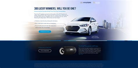 Hyundai Sweepstakes 2016 - infinityone hyundaisweepstakes com test drive a hyundai and win an infinity one speaker