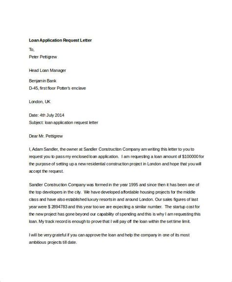 Letter Of Intent Sle For Loan Application request letter loan sle 28 images loan application