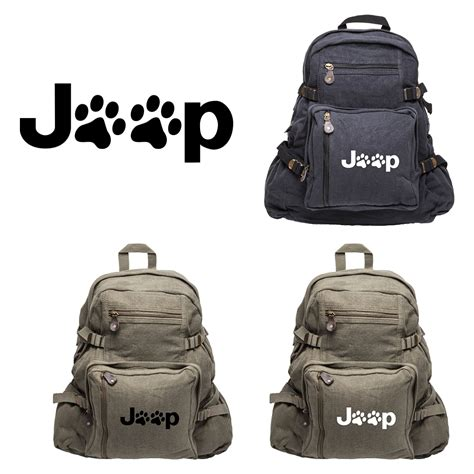 Jeep Sport Backpack Bag Jeep Wrangler Cat Paw Prints Army Sport Heavyweight