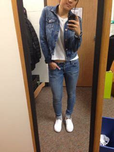 outfit white  shirt jeans blue white vans slip  shoes
