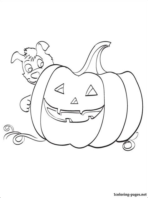 halloween puppy coloring page a big pumpkin with a puppy coloring page for halloween
