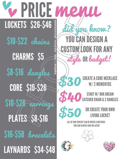Origami Owl Bracelet Price - price menu w 50 designs jewelry bar graphic