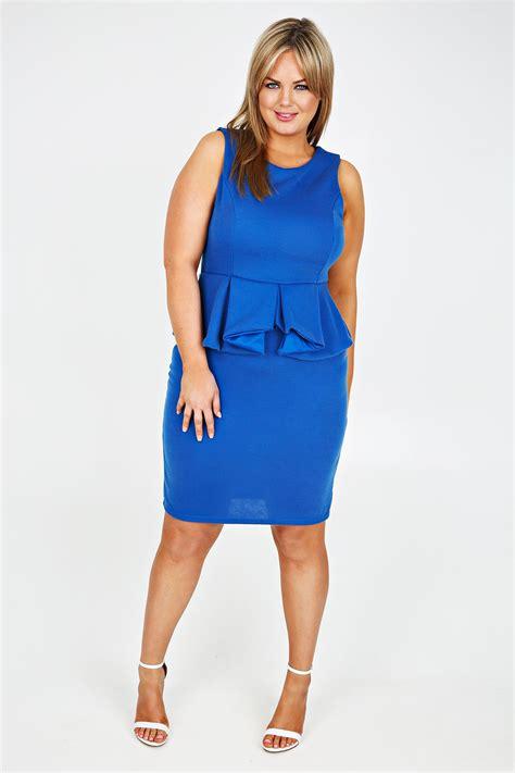 Blue Peplum Dress cobalt blue sleeveless peplum jersey midi dress plus size