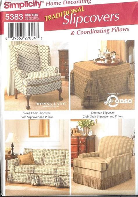 sofa cover sewing pattern simplicity slip covers chair sofa ottoman home decor