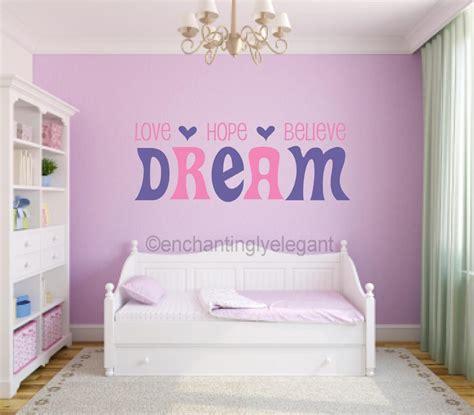 teen bedroom wall decor love hope believe dream vinyl decal wall sticker words