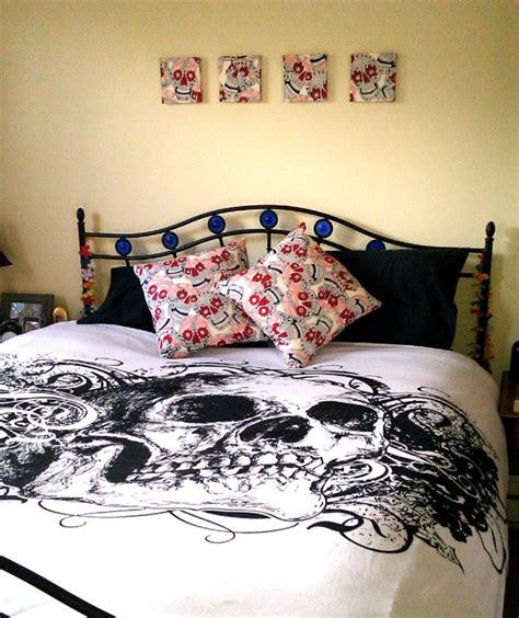 skull bedding bedroom decor in alexander henry skulls fabric colour