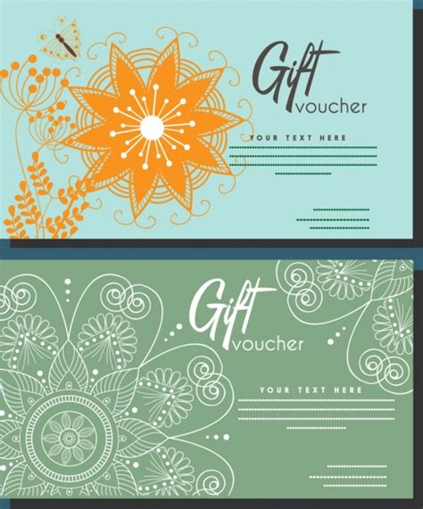 coupon template for adobe illustrator gift voucher set boho style flower decoration free vector