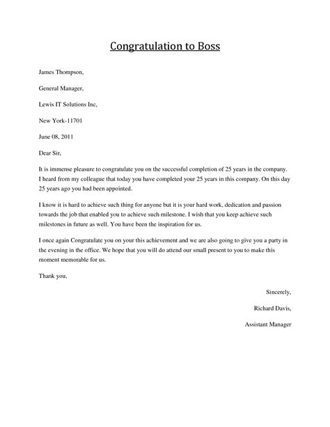 exle of formal congratulation letter congratulations letter to boss job congratulations