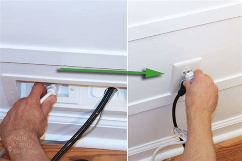 hide extension cord along baseboard wall mounted tv with wires tutorial