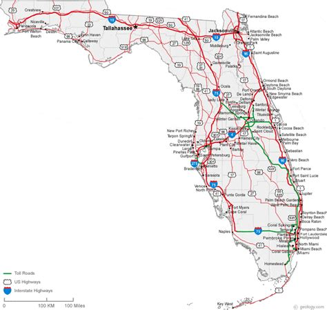 map of florida with cities south florida city map