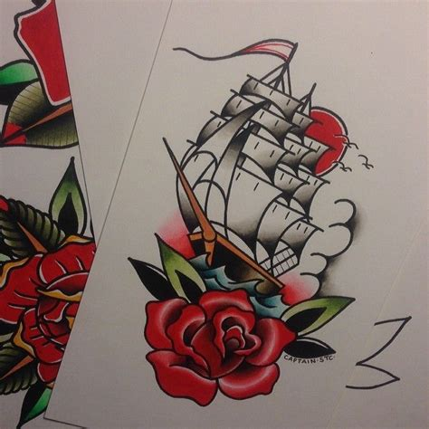 ship and rose tattoo flash tattooflash tattooart tattoos