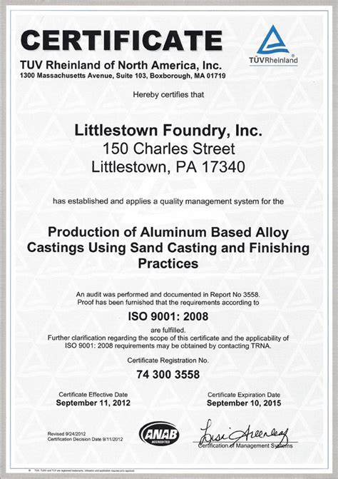 Certificate Of Quality And Quantity Template littlestown foundry inc iso certificate of quality