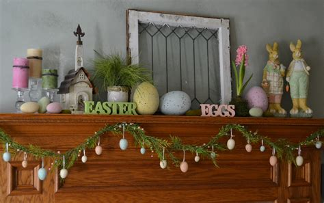corner of plaid and paisley easter mantel