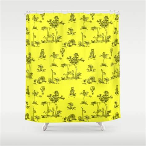 yellow toile shower curtain 1000 images about unicorny shower curtain on pinterest