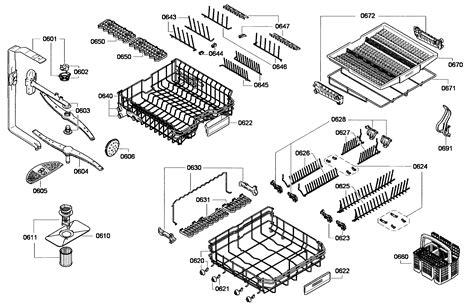 bosch dishwasher parts diagram baskets assy diagram parts list for model shx68e15uc01