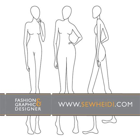 female fashion croquis blank fashion sketches vector