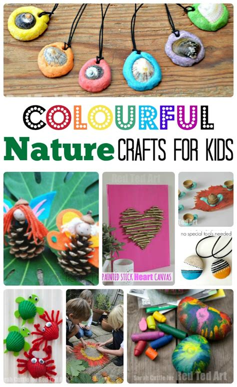 colourful easy nature crafts  kids red ted arts blog