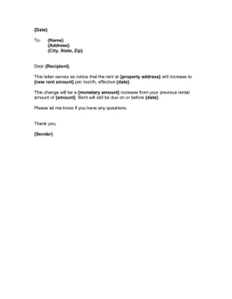 Official Rent Increase Letter Landlord Rent Increase Template