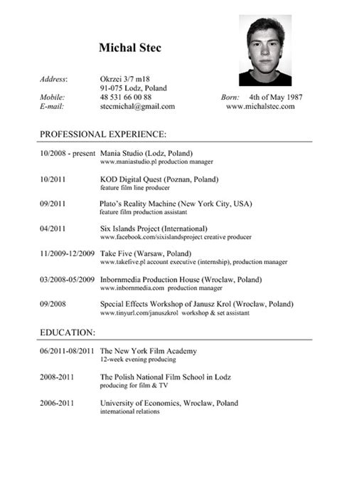cv and resume exles resume cv cvs