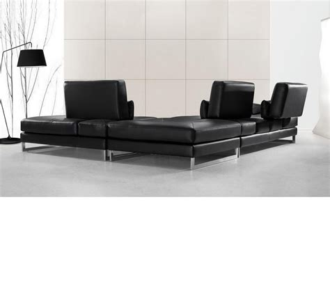 Modern Black Leather Sectional dreamfurniture modern black leather