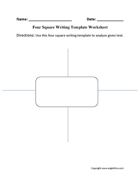 foursquare templates writing template worksheets four square writing template