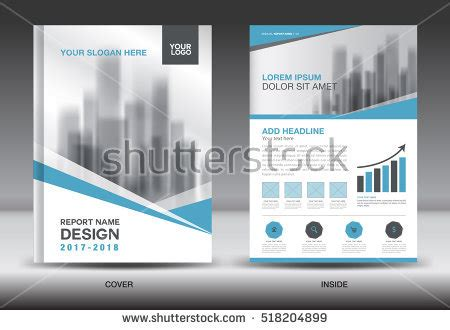 blue cover annual report brochure flyer stock vector
