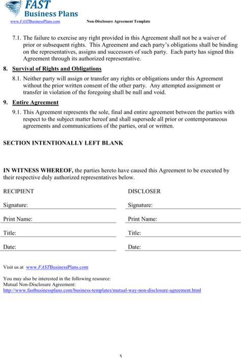 download business non disclosure agreement template for