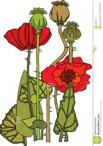 Red poppy flowers illustration in art deco style