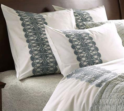 Embroidered Duvet Embroidered Stripe Duvet Cover Sham Porcelain Blue