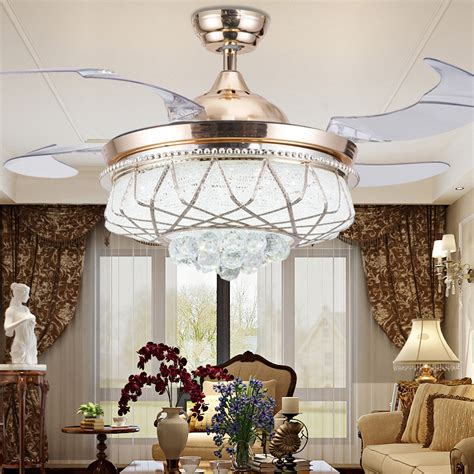 living room ceiling fans with lights 42 inch modern led crystal ceiling fans with lights remote