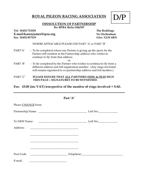 partnership dissolution agreement template 9 sle partnership agreement forms free sle