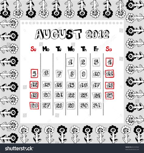 doodle email calendar doodle calendar for year 2012 august stock vector