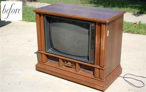 her old tv cabinet was useless until she transformed it before after 2 chairs and a dog bed design sponge