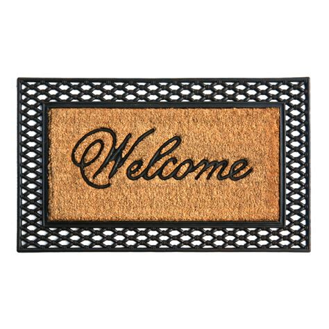 Welcome Door Mat Shop Style Selections Black Rectangular Door Mat Common
