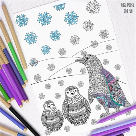 intricate winter coloring pages penguins winter coloring page for adults easy peasy and fun