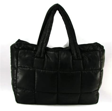 my macys large black quilted travel bag tote