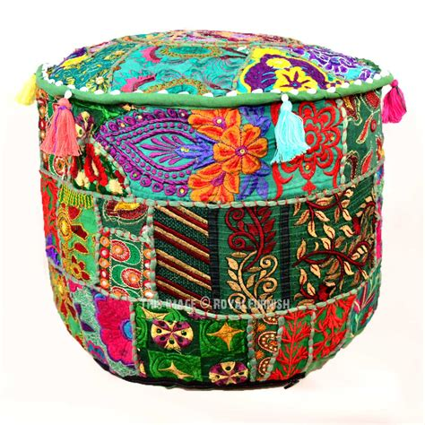 indian pouf ottoman green bohemian indian vintage handmade round floor pouf