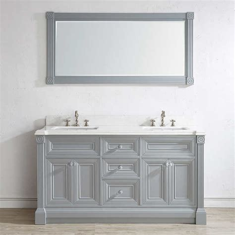 63 Inch Gray Finish Sink Bathroom Vanity Cabinet