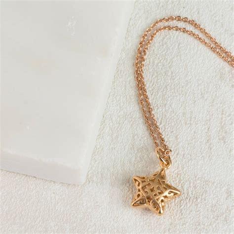 matte rose gold matte rose gold filigree star necklace by evy designs