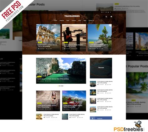 travel blog or magazine free psd template psdfreebies com