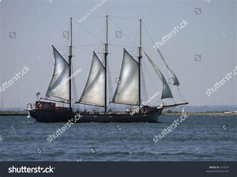 sailing boat with 3 masts 3 mast sailing boat on lake ontario stock photo 419374