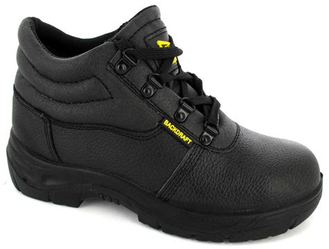 mens leather steel toe cap safety black midsole work shoes