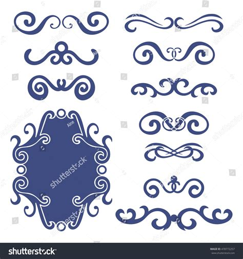 Set Blue Abstrak set blue abstract curly headers design stock vector