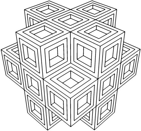 3d coloring pages cube 3d geometric coloring pages coloringsuite