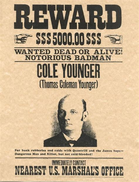 old west wanted posters cole younger old west wanted