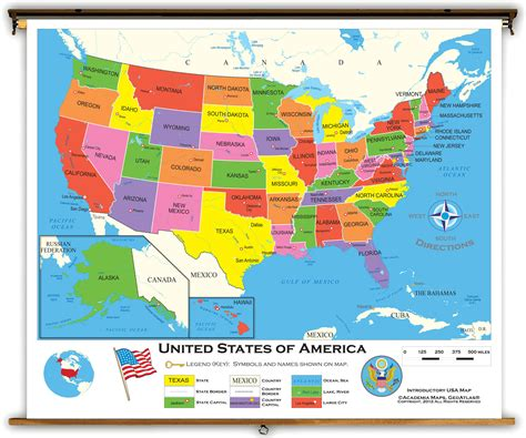 united states of america usa large wall map poster united states starter classroom map from academia maps