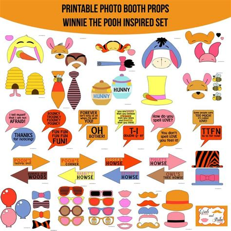 printable photo booth props pinterest instant download winnie the pooh inspired printable photo